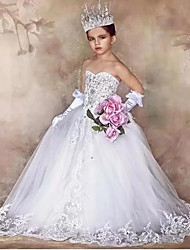 cheap -Princess / Ball Gown Floor Length Wedding / Party Flower Girl Dresses - Tulle / Sequined Sleeveless Strapless with Bow(s) / Crystals / Appliques