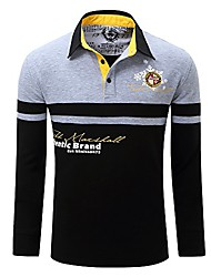 cheap -men's regular fit long sleeve printing polo shirt
