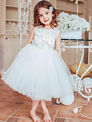 cheap -Princess / Ball Gown Knee Length Wedding / Party Flower Girl Dresses - Tulle Sleeveless Jewel Neck with Appliques