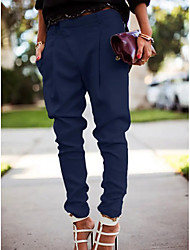 cheap -Women's Charm Simple Streetwear Causal Daily Work Jogger Pants Solid Colored Full Length Classic Style Classic Pure Color White Black Blue Gray
