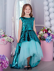 cheap -Princess / A-Line Asymmetrical Wedding / Party Flower Girl Dresses - Tulle / Sequined Sleeveless Jewel Neck with Splicing / Paillette
