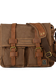 cheap -men canvas genuine leather big outdoor casual shoulder crossbody bag