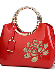 cheap -embroidery flower bright patent leather shell ladies handbag