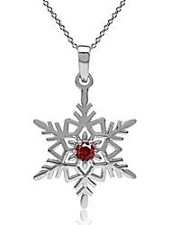 cheap -garnet red cubic zirconia  silver snowflake pendant with 18 inch chain necklace