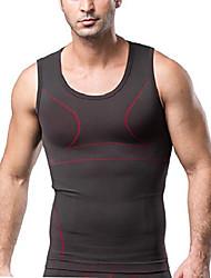 cheap -mens slimming body shaper compression shirt slim shapewear vest support sport abdomen back support discreet invisible