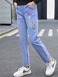 cheap -Kids Girls' Basic Streetwear Blue Letter Print Jeans Blue