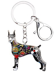 cheap -Bonsny Enamel Alloy Doberman Dog Key Chains For Women Gifts Car Purse Handbag Charms Jewelry (Green)