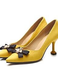 cheap -Women's Heels Flare Heel Pointed Toe Business Vintage Wedding Daily Party & Evening PU Synthetics Bowknot Black Yellow