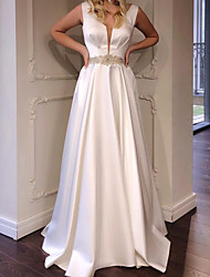 cheap -A-Line Minimalist Elegant Engagement Formal Evening Dress V Neck Sleeveless Floor Length Italy Satin with Sash / Ribbon 2021
