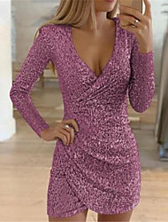 cheap -Women's Bodycon Knee Length Dress - Long Sleeve Solid Colored Sequins Deep V Hot Sexy Black Wine Gold Silver Gray S M L XL XXL