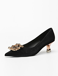 cheap -Women's Heels Stiletto Heel Pointed Toe Classic Wedding Walking Shoes Satin Rhinestone Solid Colored Almond Black Burgundy
