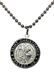 cheap -St. Christopher Surf Necklace, Large Pendant, Silvertone Color with Black Rim, 23 Inch Long Ball Chain