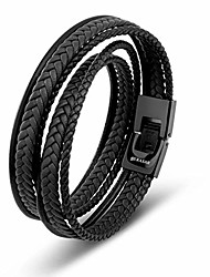 cheap -black bracelet leather men 34cm gift-box genuine-leather cowhide braided adjust-able magnetic-clasp multi-layer wrap rope man mans male boy boys mens bracelets band jewelry magnet accessories