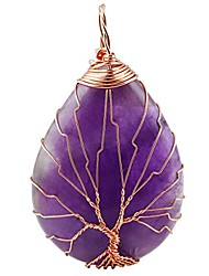 cheap -purple amethyst teardrop tree of life pendant necklace,handmade copper wire wrapped jewelry