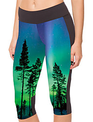 cheap -Women's High-Waisted Comfort Casual Daily Skinny Leggings Pants Plants Calf-Length Patchwork Print Photo Color