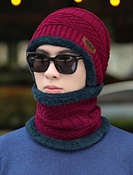 cheap -Men's Hiking Cap Ski Hat Beanie Hat 2 PCS Winter Outdoor Windproof Warm Soft Thick Neck Gaiter Neck Tube Skull Cap Beanie Solid Color Woolen Cloth Black Red Burgundy for Fishing Climbing Running