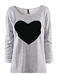 cheap -Womens Tops, Internet Love Heart Printed Long Sleeved Round Neck Blouse T-Shirt