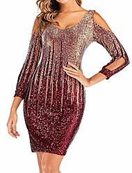 cheap -2020 Night Club Dresses for Women UK Plus Size Evening Party Sexy V Neck Sequins Ruffle Long Sleeve Mini Formal Dress Red