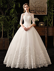 cheap -Princess Ball Gown Wedding Dresses High Neck Floor Length Lace Tulle Half Sleeve Formal Romantic Luxurious with Appliques 2021