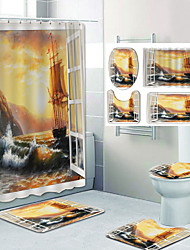cheap -Beautiful View From The Window Pattern Printing Bathroom Shower Curtain Leisure Toilet Four-Piece Design