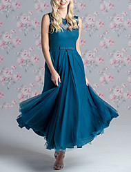 cheap -A-Line Jewel Neck Floor Length Lace / Tulle Bridesmaid Dress with Bow(s) / Pleats / Appliques