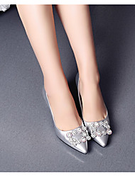 cheap -Women's Wedding Shoes Stiletto Heel Pointed Toe Wedding Pumps Wedding Daily PU Synthetics Silver