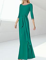 cheap -Sheath / Column Minimalist Elegant Engagement Formal Evening Dress Jewel Neck 3/4 Length Sleeve Floor Length Silk with Sash / Ribbon 2021