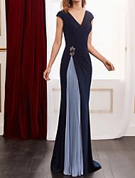 cheap -Sheath / Column Color Block Elegant Wedding Guest Formal Evening Dress V Neck Sleeveless Floor Length Spandex Chiffon with Pleats Beading 2021