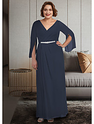 cheap -A-Line Mother of the Bride Dress Plus Size Elegant V Neck Ankle Length Chiffon 3/4 Length Sleeve with Sash / Ribbon Ruching 2021
