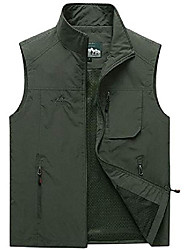 cheap -Mens Outdoor Fishing Vest Breathable Gilets Four seasons available Multi-pocketed for Camping Hunting Photography Jacket (Color : Army Green, Size : Large)