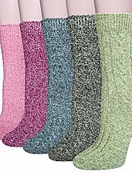cheap -5 Pairs Womens Wool Socks Thick Knit Cabin Cozy Socks Winter Warm Crew Socks Gifts for Women(Green)