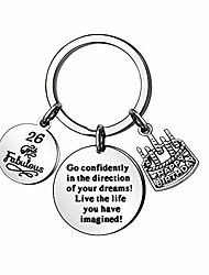 cheap -13th 16th 18th 21st 30th 35th 40th 45th 50th 55th 60th 70th wedding anniversary business birthday memento inspirational key ring key chain key tag car key accessories (26-years-old)