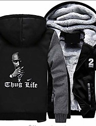 cheap -tupac hip-hop thug life hoodie, fashionable leisure jacket for men and women, pullover with zip, warm plus-velvet plus-velvet jacket top