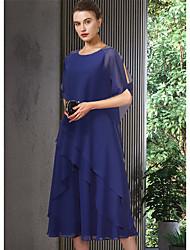 baratos -Linha A Vestido Para Mãe dos Noivos Elegante Decorado com Bijuteria Longuette Chiffon Meia Manga com Babados em Cascata 2021