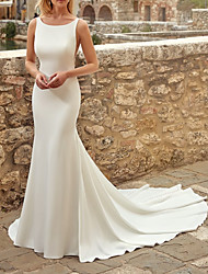 cheap -Mermaid / Trumpet Wedding Dresses Jewel Neck Sweep / Brush Train Italy Satin Sleeveless Country Simple with 2021