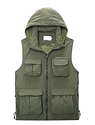 cheap -Men Mesh Knitted Collar Breathable Outdoor Photography Camping Hunting Fishing Vest Multipocket Waistcoat Jacket Coat Bodywarmer Camo Gilet (Green, UK L =ASIA XXL)