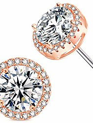 cheap -rose gold plated sparkling round cubic zirconia cz 10mm halo stud earrings with silver post. …