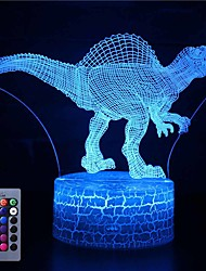 cheap -3D Dinosaur Night Light Illusion Lamp 16 Color Change Decor Lamp with Remote Control for Living Bed Room Bar Best Gift Toys for Boys Girls