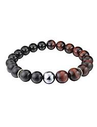 cheap -Men's Healing Tibetan Bracelet (8.4inch) - Handmade with Natural Gemstone Obsidian Tiger Eye Terahertz Energy Stone Elastic Stretch Bangle for Meditation (Healing Bracelet A)