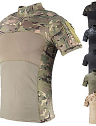 cheap -Men's Hunting T-shirt Tee shirt Camo Shirt Combat Shirt Camo / Camouflage Short Sleeve Outdoor Summer Well-ventilated Quick Dry Breathability Breathable Top Cotton Camping / Hiking Hunting Fishing