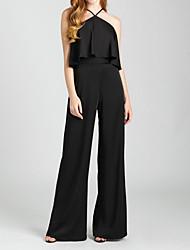 cheap -Jumpsuits Halter Neck Floor Length Charmeuse Bridesmaid Dress with Pleats