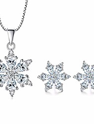 cheap -Silver Snowflake Jewellery for Women, Silver Snowflake Necklace Pendant & Stud Earrings, with White  Cubic Zirconia, Perfect Christmas Gift