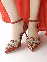 cheap -Women's Wedding Shoes Stiletto Heel Pointed Toe Wedding Pumps Wedding Party & Evening PU Synthetics Red Gold Silver