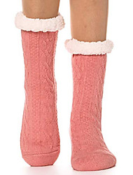 cheap -Womens Fuzzy Slipper Socks Warm Thick Knit Heavy Fleece lined Fluffy Winter Socks Christmas Stocking Stuffers (Pink)