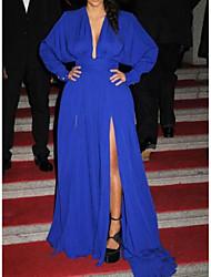 cheap -A-Line Celebrity Style Elegant Prom Formal Evening Dress V Neck Long Sleeve Court Train Chiffon with Pleats Split 2020