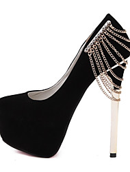 cheap -Women's Heels Stiletto Heel Round Toe Daily Suede Solid Colored Summer Black Red / 3-4