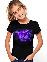 cheap -Kids Girls' T shirt Tee Short Sleeve Horse Unicorn Graphic 3D Animal Print Black Children Tops Active Cute