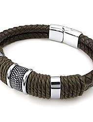 cheap -mens leather stainless steel bracelet, braided cuff bangle, brown silver - 9 inch