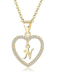 cheap -Silver Initial Heart Necklace for Women Girls A-Z 26 Letter CZ Love Pendant Alphabet Necklaces Christmas Gift Jewelry