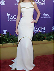 cheap -Mermaid / Trumpet Celebrity Style Cut Out Prom Formal Evening Dress Boat Neck Sleeveless Sweep / Brush Train Satin with Split 2021